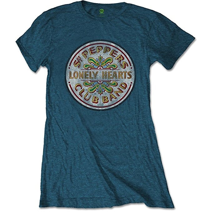 Beatles Sgt Pepper Drum Ladies T-shirt, Blue Denim (X-Large)