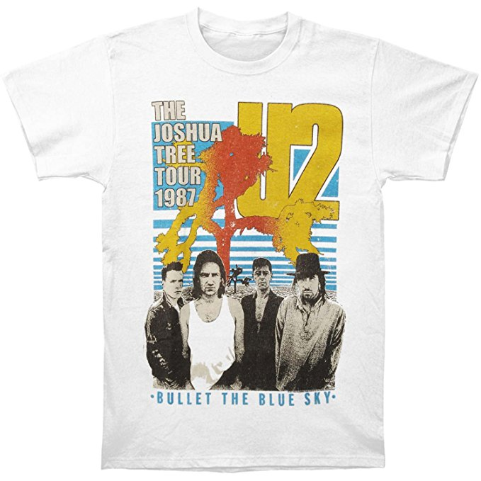 U2 Bllet The Blue Sky Men's Slim Fit T-shirt, White