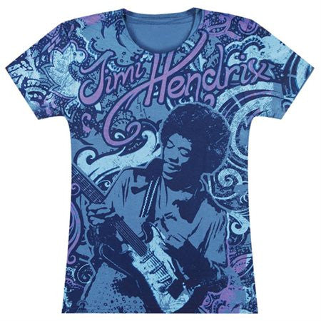 Jimi Hendrix - Laid Back All-Over Juniors T-Shirt Medium Purple