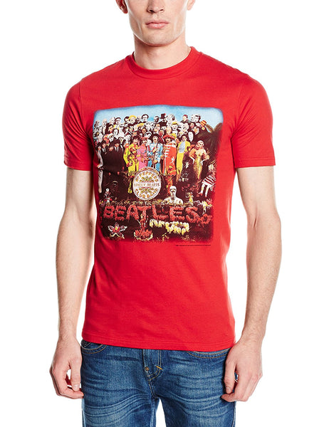 Beatles Sgt. Pepper Red Men's T-shirt Vintage Scarlet