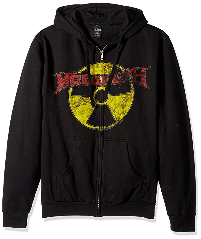 Megadeth Radioactive Logo Men's Zip Hoodie, Black (Small)