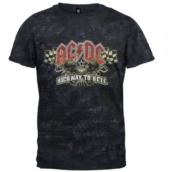 AC/DC Highway to Hell Piston Black Tie Dye T-shirt (Small)