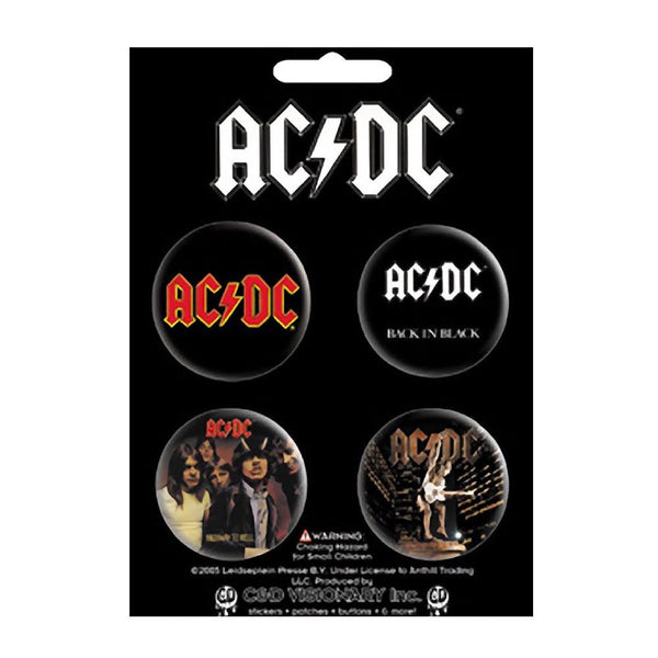 AC/DC 4 Button Pin Button Set