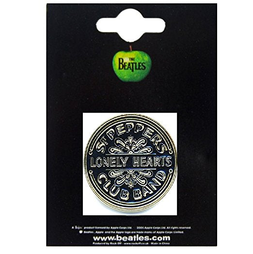 Beatles Metal Pin Sgt Pepper Drum Lapel Pin (Black/Gold)