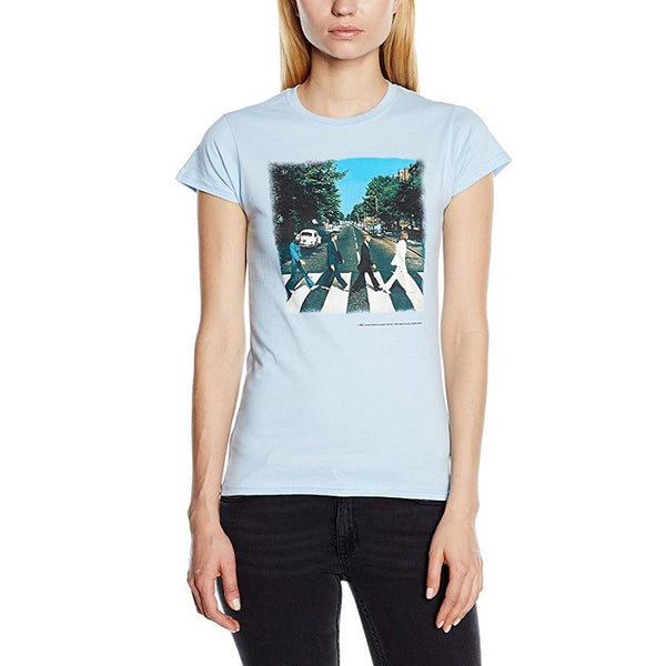 Beatles Abbey Road Women's 2-Sided T-shirt, Light Blue (2X)