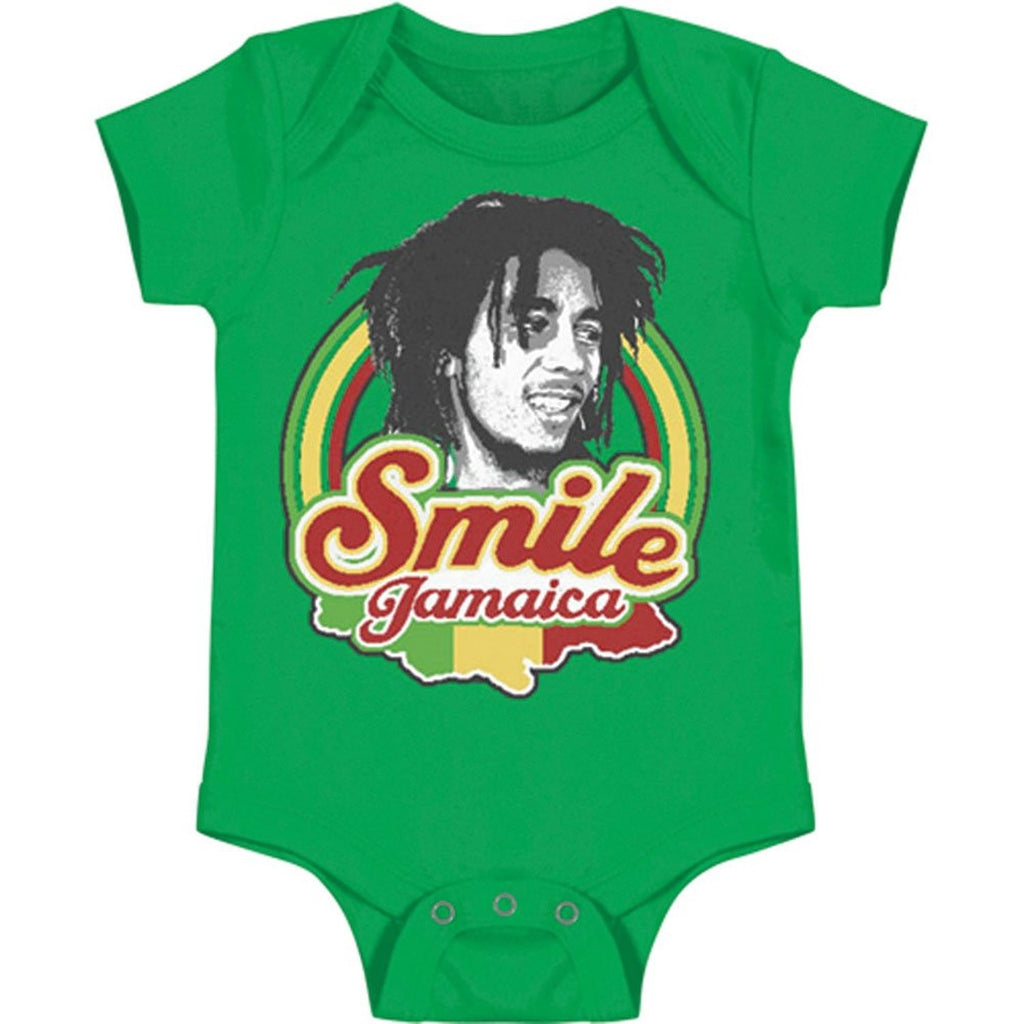 Bob Marley Smile Jamaica Baby Snap-closure Bodysuit - Green (Large)