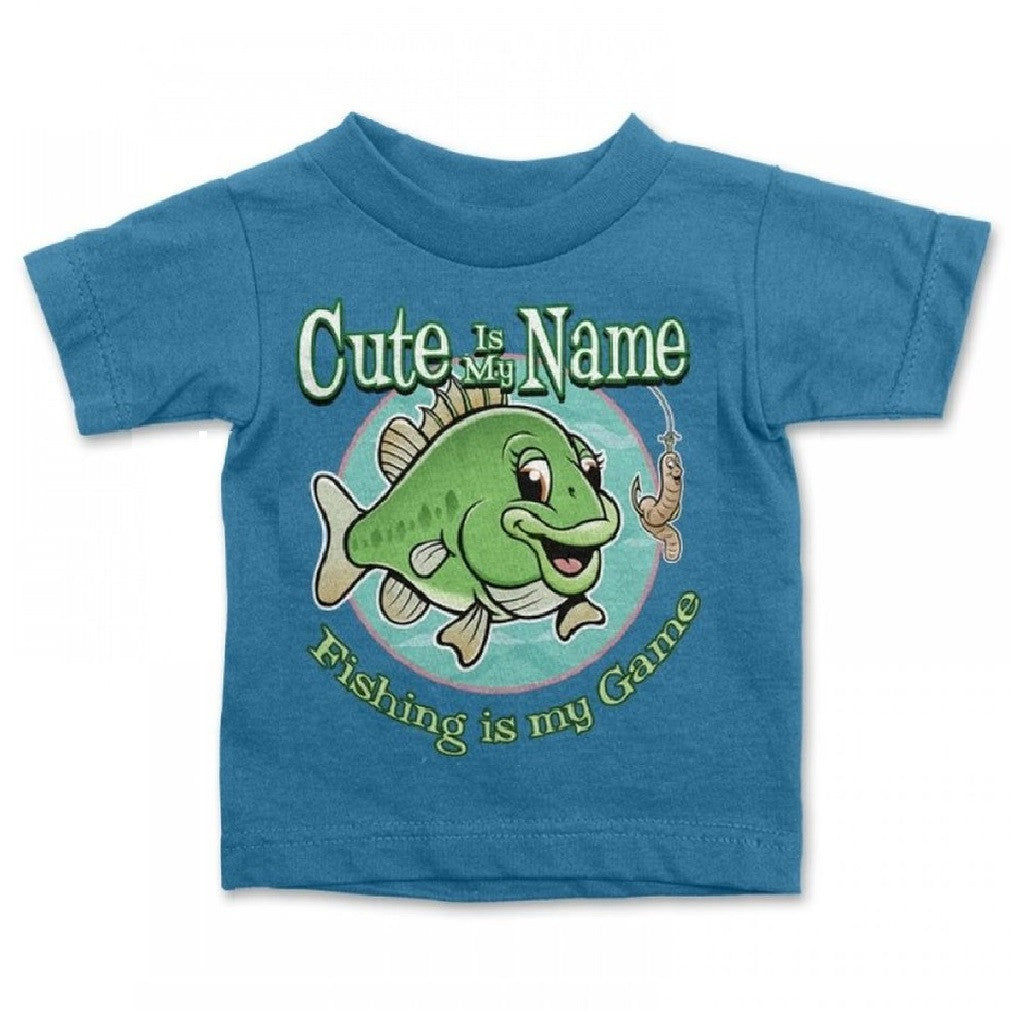 Buck Wear Cute Is My Name Baby Girls Turquoise Fish T-Shirt, 18 Months
