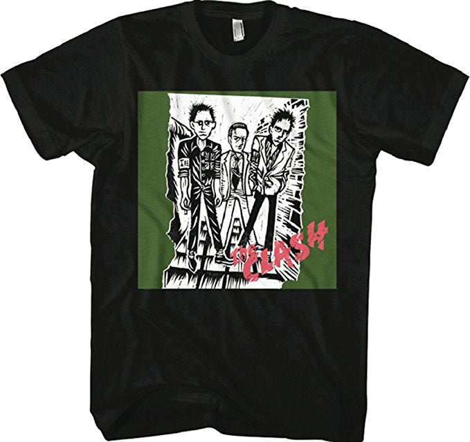 Clash Sketch Of First Album Black T-Shirt (Large)