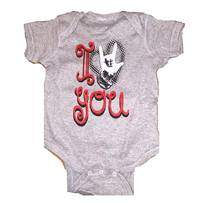 I Love U One Piece Infant Romper, Grey (6 Months)