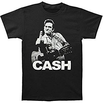 Johnny Cash Mens Flippin White Logo Black T-Shirt, Small