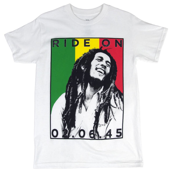 Bob Marley Ride On Rasta Stripes White T-Shirt (2XL)