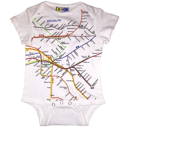 NYC Subway Line Brooklyn Map Unisex Baby Romper, White (6 Months)