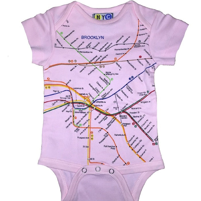 NYC Subway Line Brooklyn Map Baby Girl's Romper, Pink