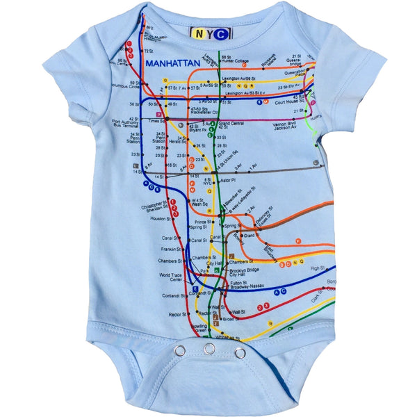 NYC Subway Line Manhattan Baby Boys Romper, Blue (18 Months)