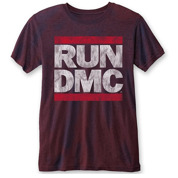 RUN DMC Logo Vintage Burnout Navy/Red T-Shirt