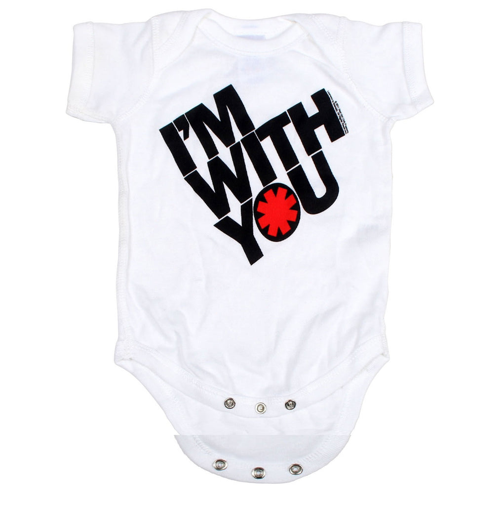 Red Hot Chili Peppers Tilted I'm With You Logo Baby Romper, White (24 Months)