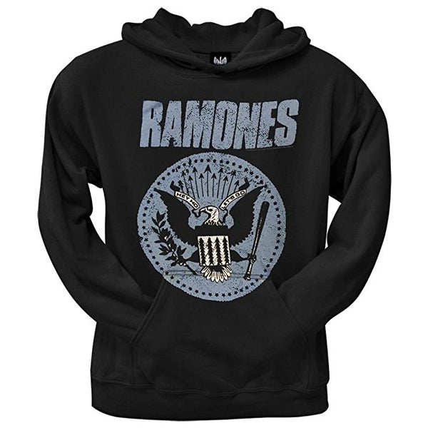 Ramones Hoodie Blue Presidential Seal Logo Black Pullover Hooded Sweatshirt, X-Large