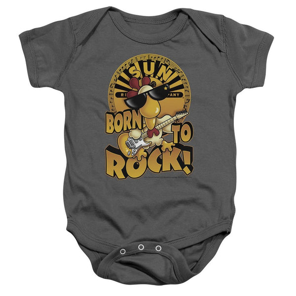 Sun Record Company 'Born To Rock' Unisex Baby Romper, Grey (6 Months)