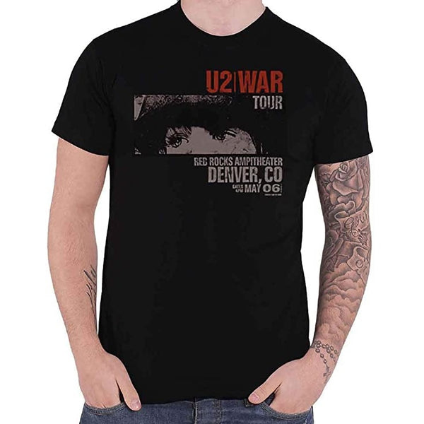 U2 Men's War Red Rocks Short Sleeve T-Shirt, Black,
