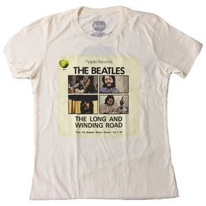 Beatles Long And Winding Road Juniors T-shirt, Cream (X-Large)