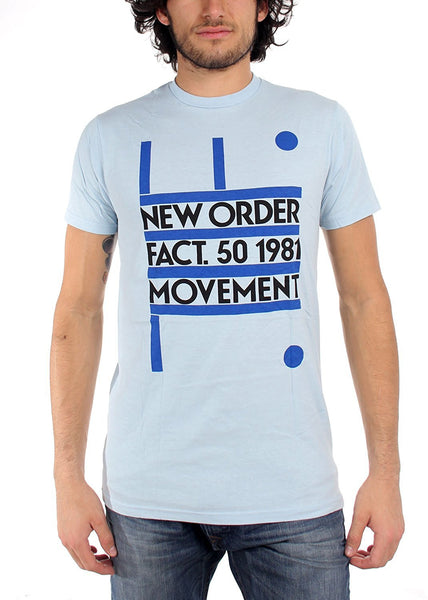 New Order Fact 50 1981 Movement Men's Slimfit T-shirt, Blue (X-Large)