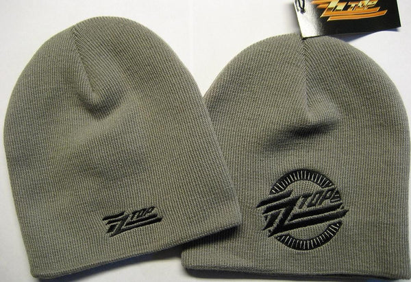ZZ Top Beanie Gray Embroidered Knit Cap