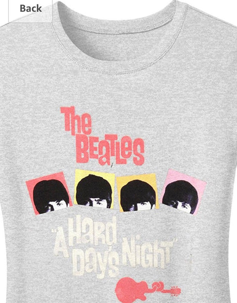 Beatles Hard Day's Night Girls Jr T-shirt, Grey (Large)