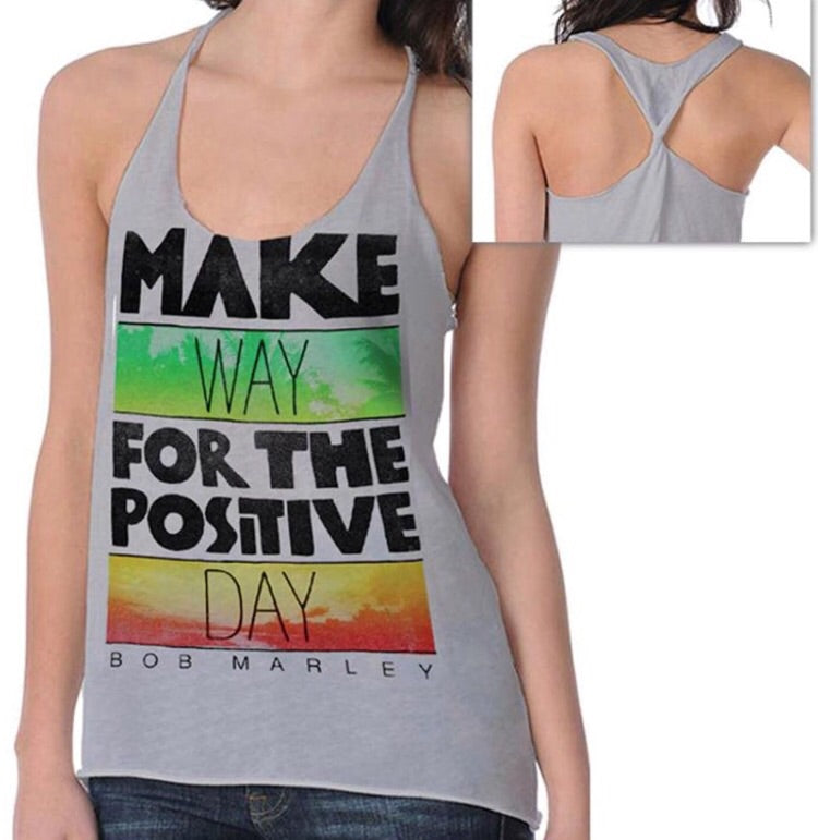 Bob Marley Make Way Twist Tank Juniors Sleeveless Tee, Grey (X-Large)