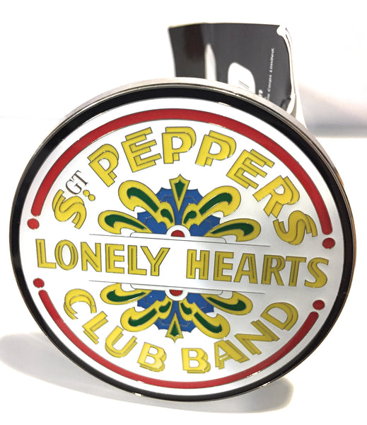 Beatles Belt Buckle White and Silver Enamel Sgt Pepper Drum