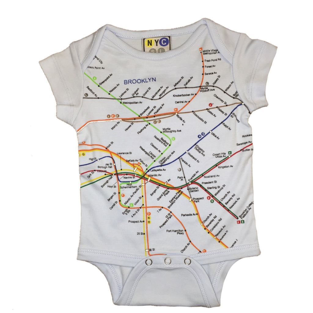 Brooklyn Subway Map Tees.Nyc Subway Line Brooklyn Map Unisex Baby Romper White 6 Months