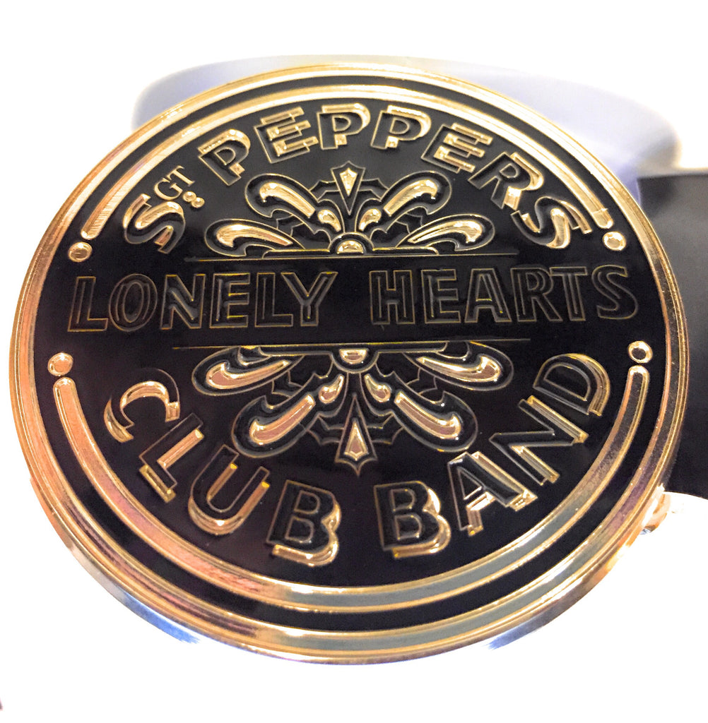 Beatles Belt Buckle Gold Tone Sgt Pepper Drum