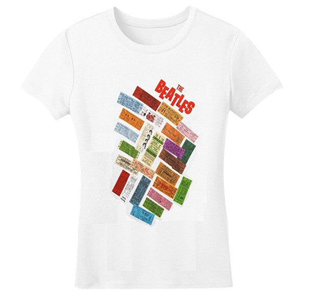 Beatles 'Stacked Tickets' Ladies White T-Shirt (Large-Juniors)