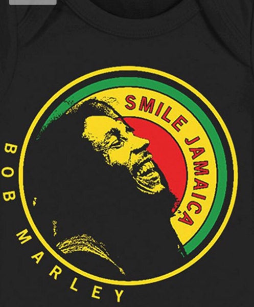 Bob Marley Laughing Smile Jamaica Baby Snapsuit - Black (Small/6M)