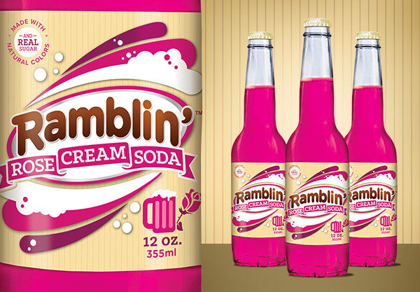 Ramblin' Rose Cream Soda Glass Bottles