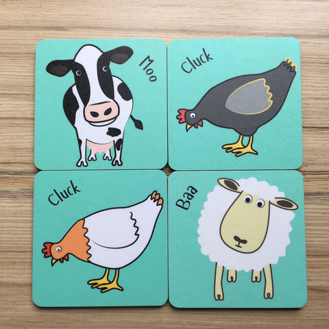Square Farm Animal Coasters