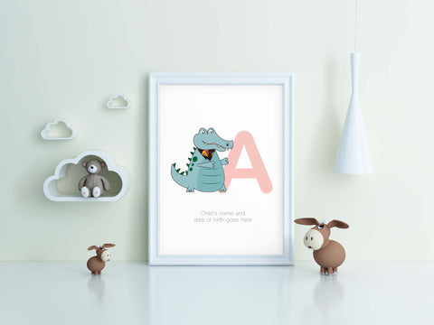 A is for Alligator, kids room and nursery wall print.