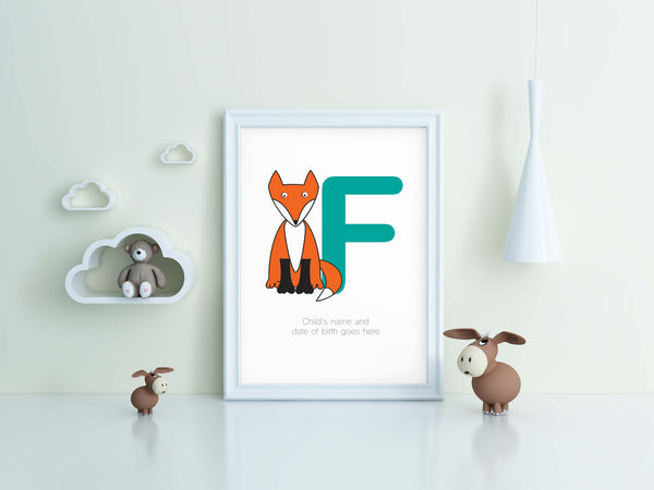 Kids A-Z Bedroom Wall Print_Personalised