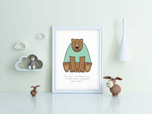 'Oh Dear...' Bear Print for Child's Room or Nursery