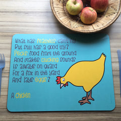 Chicken Placemat With Rhyme