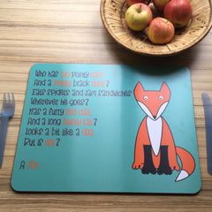 Fox Placemat With Rhyme