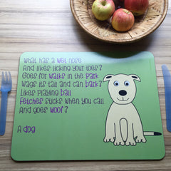 Dog Placemat With Rhyme