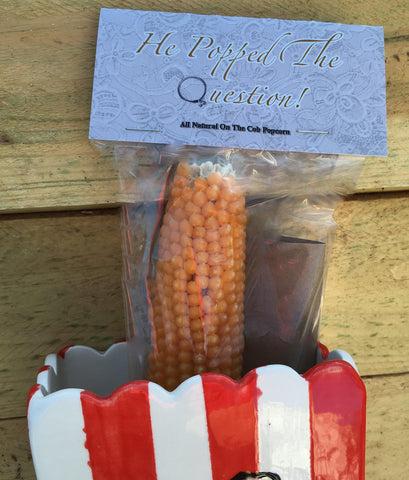 """He Popped The Question"" Poppin' Cob Wedding Shower Favor"