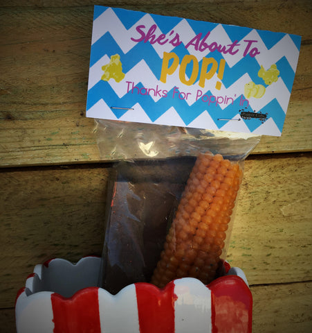 "Poppin' Cob's ""She's About to Pop"" Baby Shower Favor (Blue)"