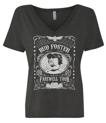 Bud Foster Farewell Tour slouchy vneck womens tee