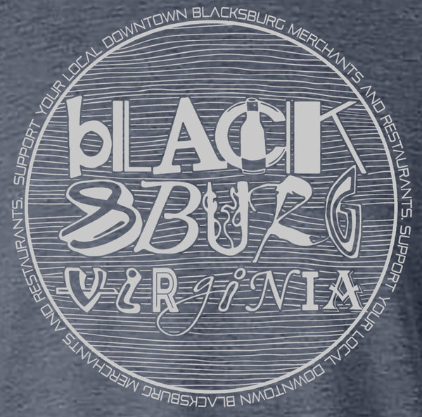 Blacksburg Fundraiser tee- heather navy