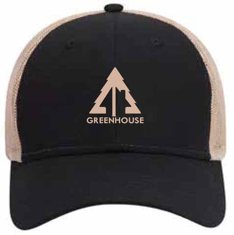 Greenhouse black and tan mesh back hat