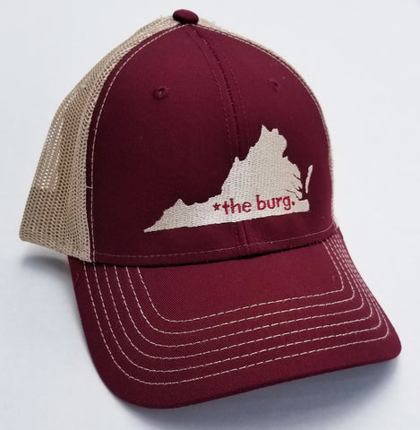 The burg hat - maroon and tan mesh back