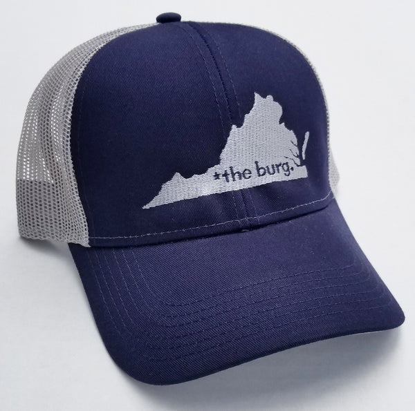 The burg hat - navy and grey mesh back