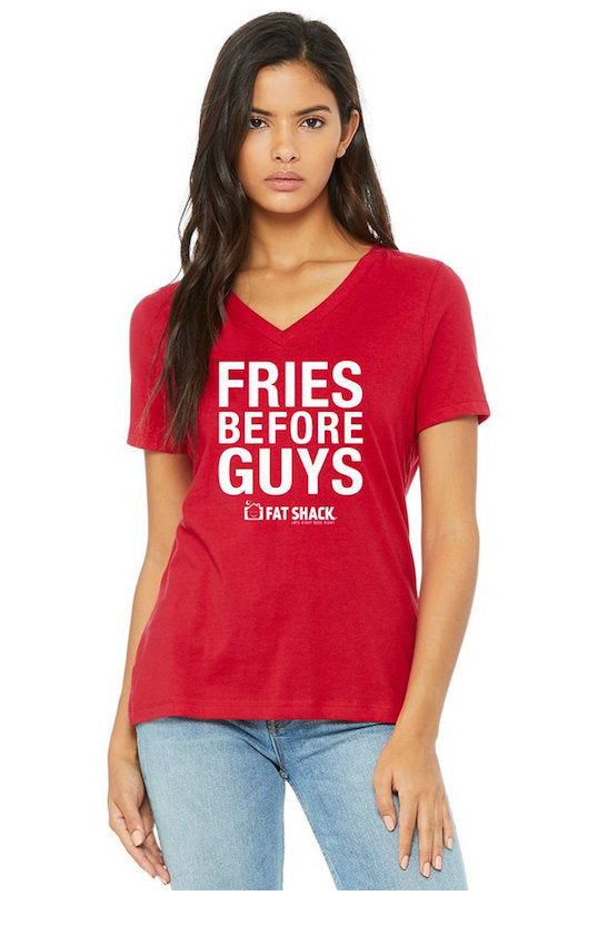 'Fries Before Guys' Women's V-Neck T-Shirt