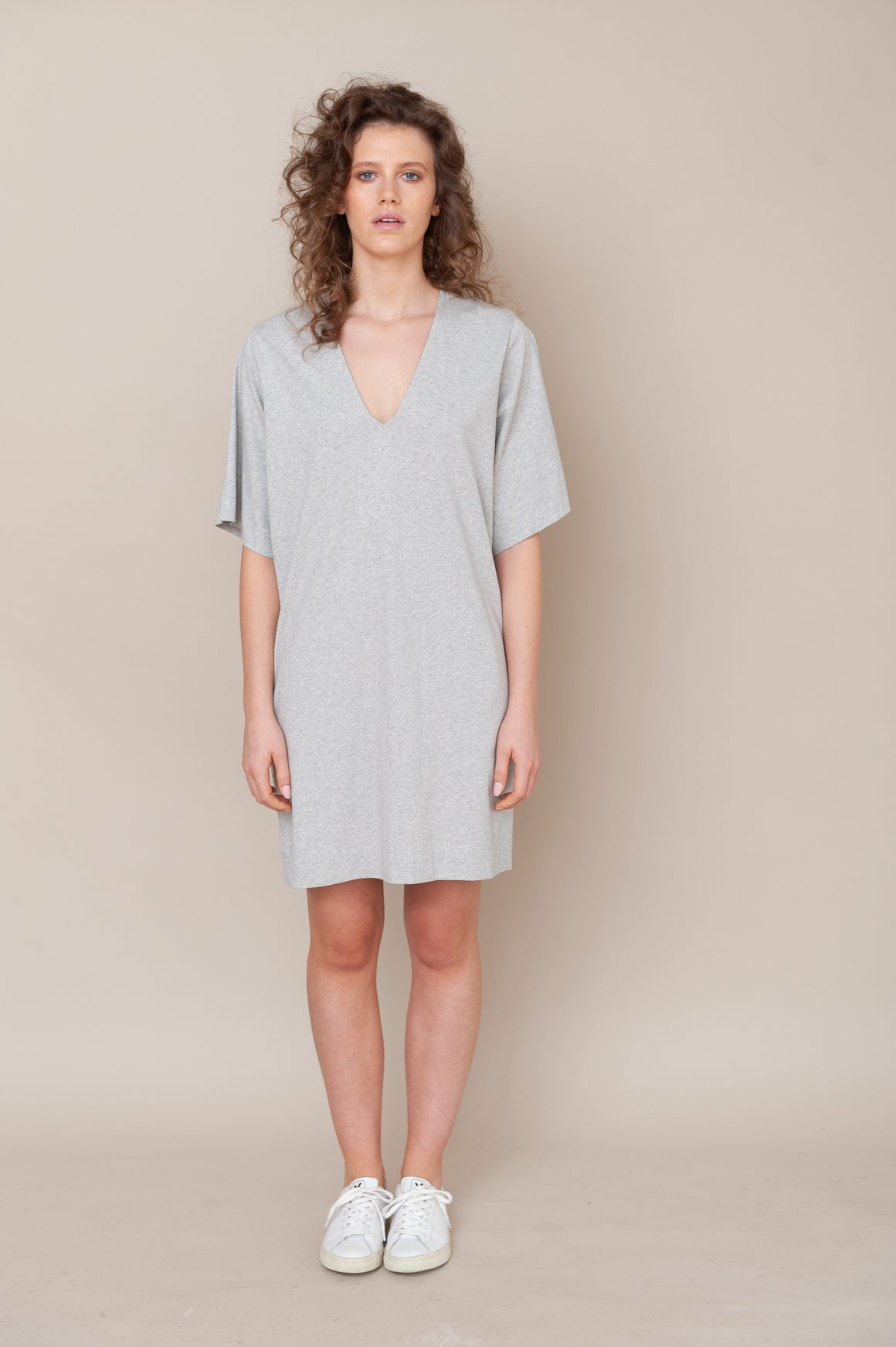 Sasha Organic Cotton Dress - Light Grey Marl